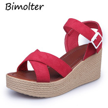 Bimolter Summer Flock Buckle Sandals Women Fashion High Heel Platform Open Toe Gladiator Shoes Comfortable Wedge PSEB017