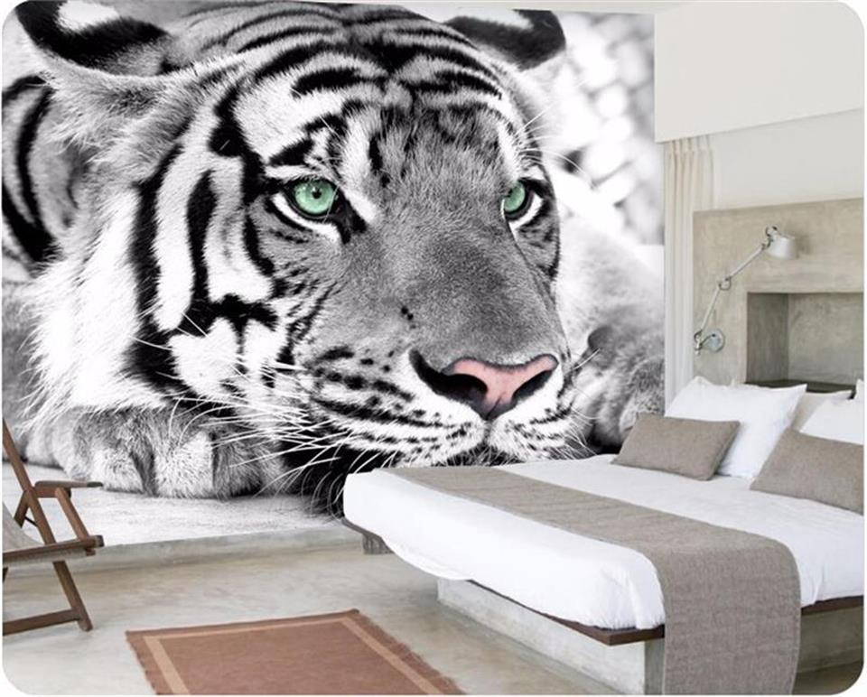 3d wallpaper custom photo wallpaper mural black and white tiger painting bedding room sofa TV background wall non-woven sticker  free shipping hepburn classic black and white photos wallpaper old photos tv background wall mural wallpaper
