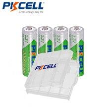 4PCS PKCELL 1.2V AA נטענת סוללה 2200mAh NiMH נמוך פריקה עצמית סוללה סוללות + 1Pcs סוללה מקרה עבור מצלמה דיגיטלית