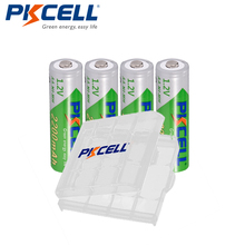4Pcs Pkcell 1.2V Aa Oplaadbare Batterij 2200Mah Nimh Lage Zelfontlading Batterij Batterijen + 1Pcs batterij Case Voor Digitale Camera
