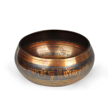 17.5cm Diameter Big Size Tibetan Mediation Singing Bowl With Leather Striker And Cushion Tibet