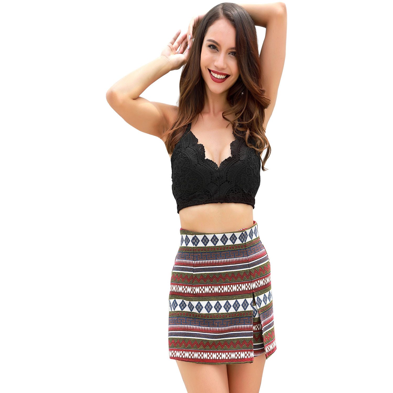 Ladies Sexy Summer Shorts Indie Folk Style Print Beach Short Side Split Elegant Shorts 2019 Casual Women Clothes Shorts Mujer