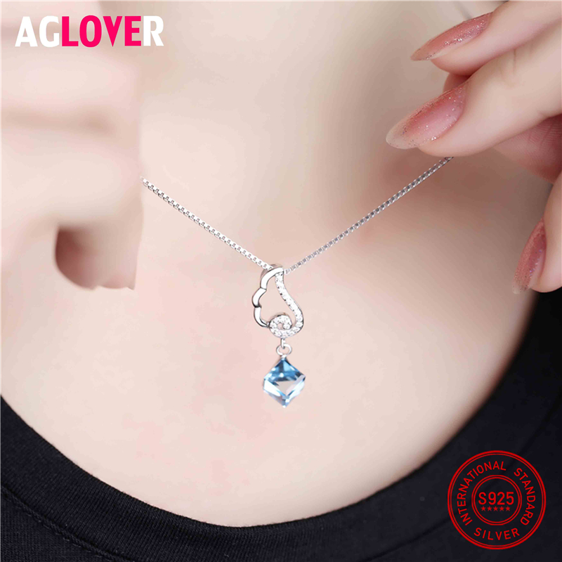 100 925 Sterling Silver Necklace Box Chian with Austrian Crystal AAA Zircon Elegant Square Pendant Necklace for Women Jewelry in Necklaces from Jewelry Accessories
