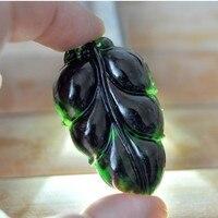 Drop Shipping Doğal Jades Kolye Siyah Taş Oyma Yaprak Kolye Kolye kadın Moda Jades Takı Ücretsiz Halat