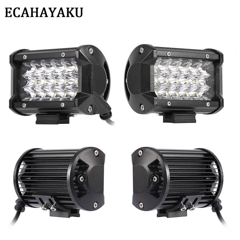 ECAHAYAKU 4Pcs Tri-row 5inch LED Light Bar 54W Spot 12V 24V IP68 for ATV SUV Work Trucks 3-row Led Offroad
