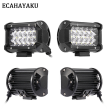 ECAHAYAKU 4Pcs Tri-row 5inch LED Light Bar 54W Spot 12V 24V IP68 for ATV SUV Work Trucks 3-row Led Offroad