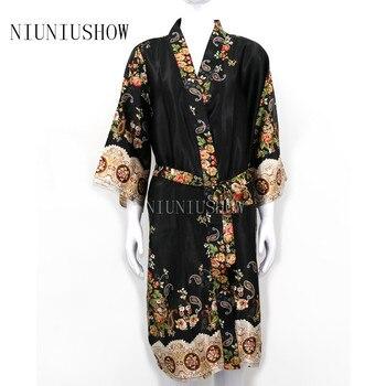 New Print Women s Satin Robe Gown Lady Elegant Floral Kimono Sexy Nightgown  New Casual Bathrobe Sleepwear Plus Size 5e00bd729