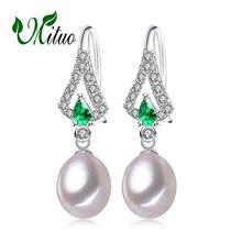 MITUO Smaragd pärlörhängen smycken, gröna ädelsten örhängen, långa örhängen för kvinnor, Böhmiska 925 sterling silver droppörhängen