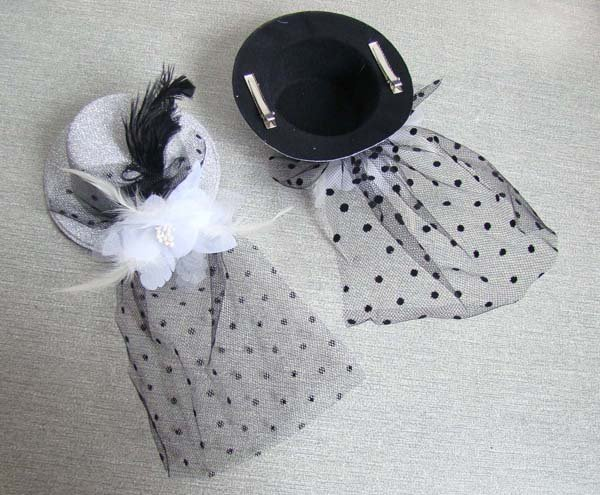Free shipping!! Wholesale-36pcs/lot,Fashion Mini Top hat hair clips with feather party hair Accessories