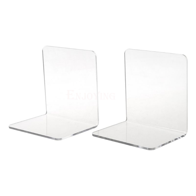 2Pcs Clear Acrylic Bookends L-shaped Desk Organizer Desktop Book Holder School Stationery Office Accessories 1