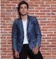 2015 Nova Chegada calças de Brim Dos Homens Blazer Masculino Casual Mens Denim Blazer Masculino Marca Projetos Homens Blazer Homme Plus Size M-3XL