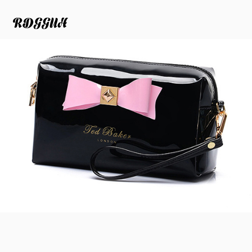 RDGGUH 2018 Women Casual Travel PU Cosmetic Bag Zipper Make Up Makeup Case Bow tie Organizer Storage Pouch Toiletry Wash Kit Bag