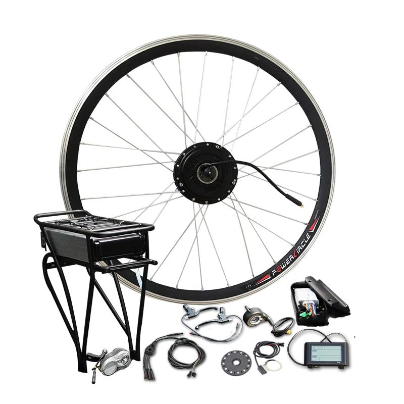 36 V 350 W 500 W Bateria Rack Traseiro com LCD900 Exibição Kit de Conversão Do Motor Da Bicicleta Elétrica Traseira Transportadora celular para MTB Estrada Peças