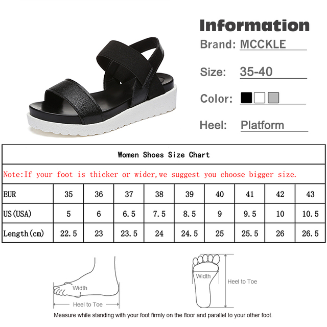 MCCKLE Women Sandals Slip On Elastic Band Female Summer Shoes Platform Roman Female Flat Sandals mujer sandalias Ladies Footwear