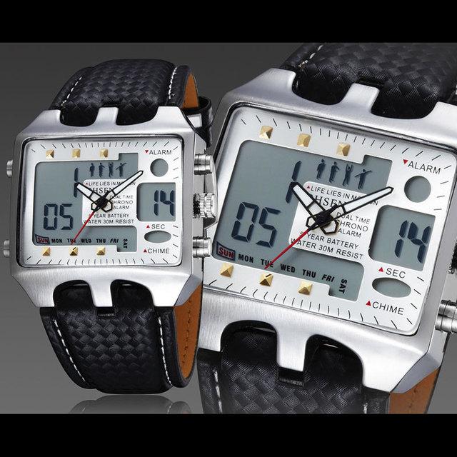 Ohsen relojes de cuarzo analógico digital 3atm impermeable de moda de buceo militar reloj relogio masculino reloj regalos