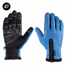 ROCKBROS Winter Cycling Gloves Thermal Windproof Warm Sport Gloves Anti Slip Men Women Anti slip Water