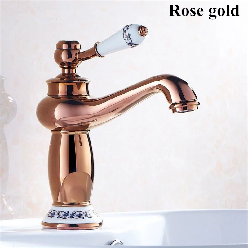 buy free shipping gold bathroom faucet antique copper faucet brass chrome bathroom taps rose gold taps mixers g2016 from