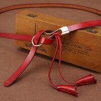 IFENDEI New Fashion Vintage Belt Women Female Bow Knot Cowhide Genuine Leather Thin Waistband Chain Tassel
