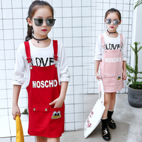 2018 Girls Clothing Cartoon Sets Girl Clothes Children 2 Pieces Sets Clothes Overalls Dress Long Sleeve