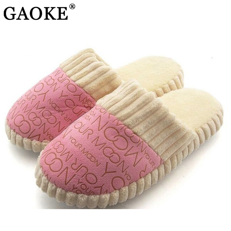 GAOKE Winter Warm Women Home Slippers Indoor Plush Shoes