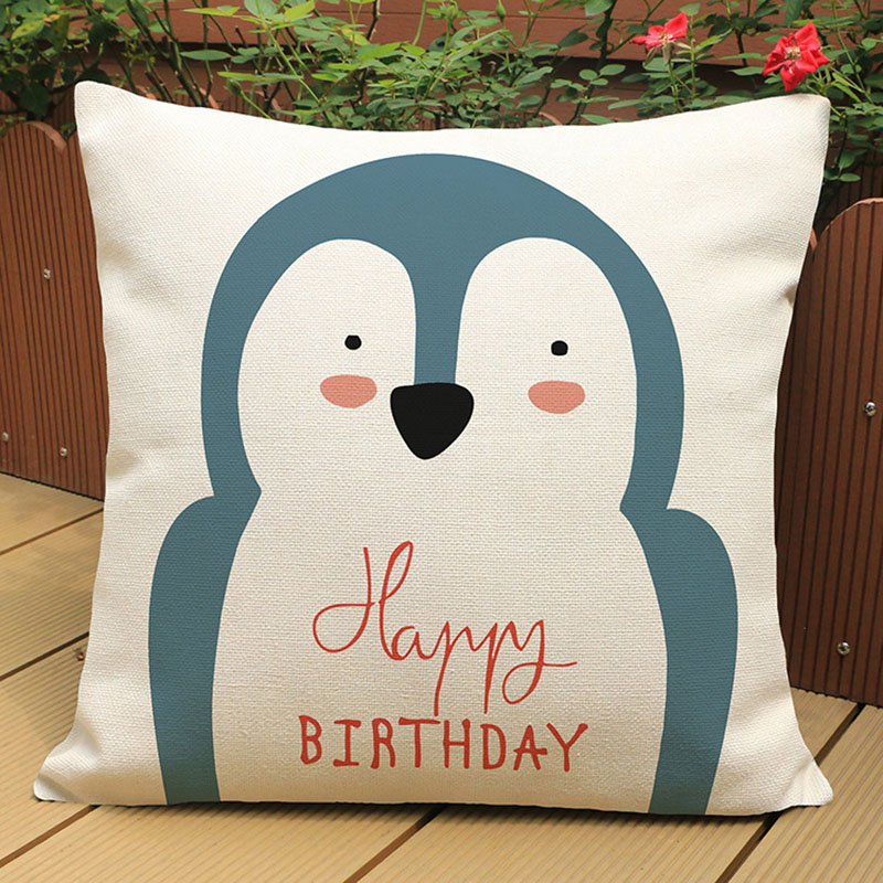Modern cute cartoon animal Meng pet rabbit cotton linen pillowcase home decoration sofa children cushion cover car waist pillow