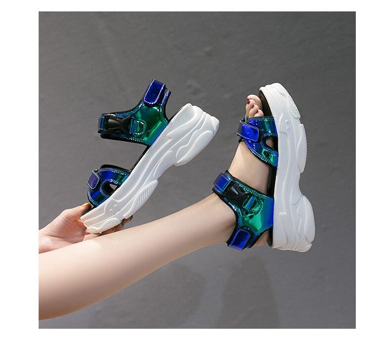 HTB1FWbAalKw3KVjSZFOq6yrDVXaF Women Sandals 2019 New Summer Sandals Ladies Casual Shoes Women Bling Wedges Buckle Strap Platform Shoes 5 CM Sandalias Mujer