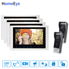 HomeEye Video Door Phone Intercom Motion Detection Touch Button 10 Monitor 1200TVL IR Camera 2-4 Security Access System