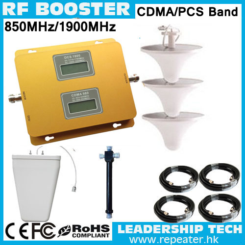 Wholesale CDMA/PCS 850mhz/1900mhz 3G LCD Display Dual Band Cellular Mobile/cell Phone Signal Repeater Booster Amplifier Detecto