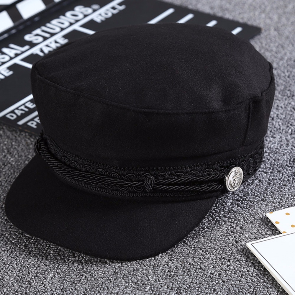 2019 New Fashion Black Lace Embroidery Captain Hat Casual Rope Flat Cap Women Newsboy Sunhats Autumn Winter Cool Girls Beret Hat