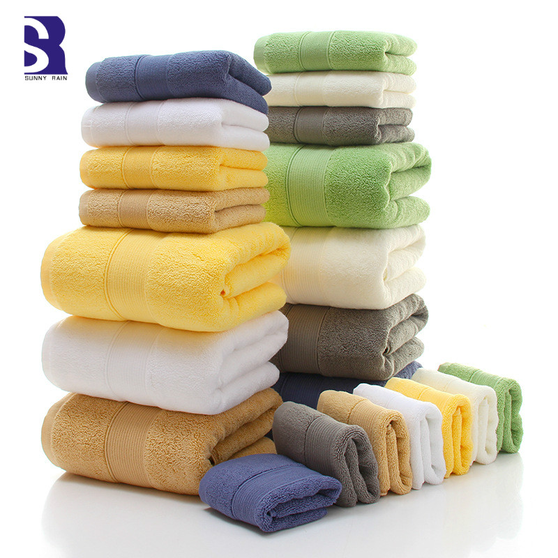 SunnyRain 3 Piece Thick Combed Cotton Towel Set Bath Towel For Adult Face Towel 650GSM Water
