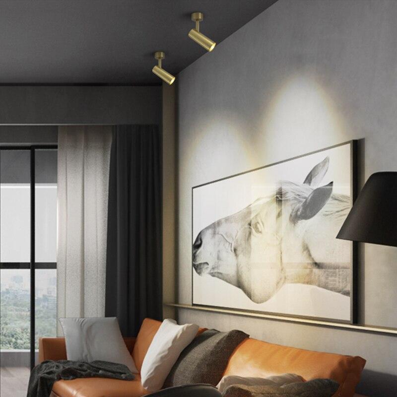 Aisilan LED медный Точечный светильник современный скандинавский регулируемый светильник для коридора фойе 7 Вт CREE Чип Потолочный светильник ...