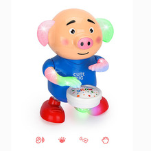 New Funny Drums Will Dance Seaweed Sprouting Pig Electric Lighting Projection Music Drum Pig Children's Toys Funny Gift