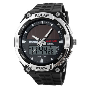 Image 4 - SKMEI SOLAR POWER Männer Sport Uhren LED Digital Quarz Uhr 5ATM Wasserdichte Outdoor Kleid Solar Uhren Militär Uhr Solar