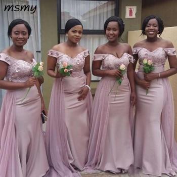 Elegant Off Shoulder Bridesmaid Dresses African Lace Appliqued Sash Mermaid Wedding Guest Dress Custom Made Sexy Maid Of Honor