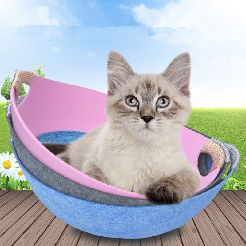 pet Cat bed house summer cat bed pet felt nest with cool mat removable and washable four seasons universal cat house net cat pot|Cat Beds & Mats|   - AliExpress