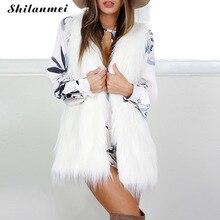 Winter Autumn white fur vest font b women b font warm coat faux fur font b