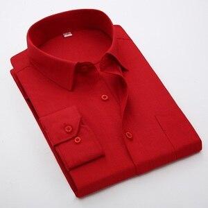Image 4 - Artı Boyutu 5XL 6XL 7XL 8XL Sosyal İş Kolay bakım Elbise Erkek Gömlek Rahat Yumuşak Rahat Saf Renk Sarı mor Kırmızı