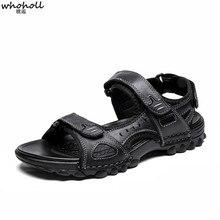цены WHOHOLL  Summer Sandals Men Leather Fashion Beach Sandals Non-slip Beach Shoes Men Cow Leather Sandalias  Mens Shoes Size 38-48