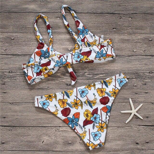 a758435c648 Floral Printed Knot Bikini Sexy Women Swimsuit Print Swimwear Brazilian  Bikini Set Bathing Suit Maillot De Bain Femme