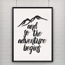 Printable Art Canvas Art Print Poster So The Adventure Begins Quote Travel Print Office Home Apartment Decor, Frame Not included