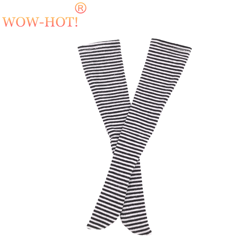 1/3 1/4 SD Bjd Stocking Doll Clothes,Fashion Black and White Stripe Socks Elastic Stockings Accessories for BJD Dolls One Pair 1 3 1 4 bjd doll funiture black chair