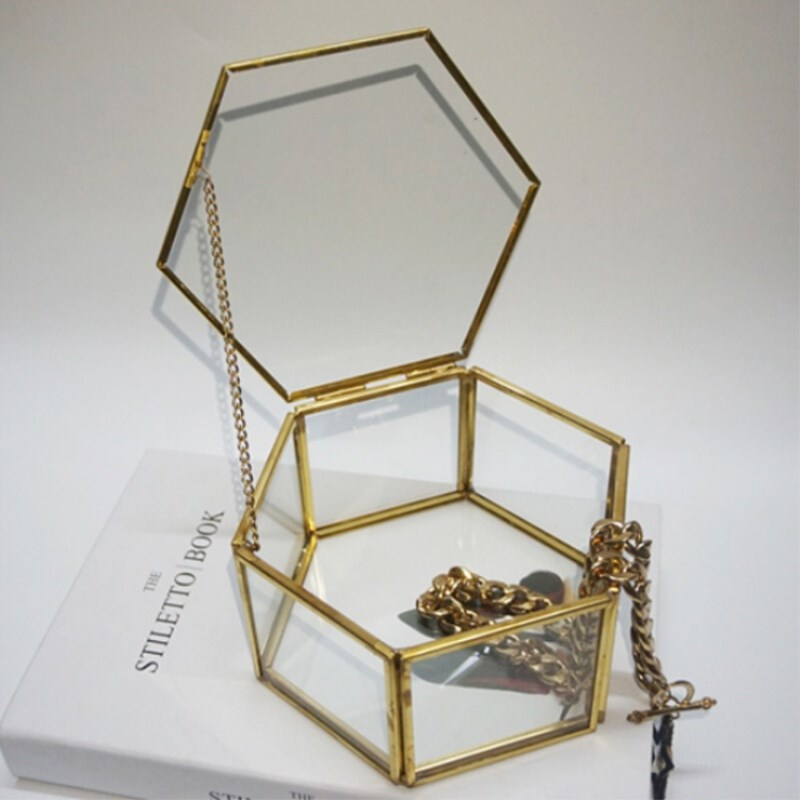 Glass Box Jewelry Transparent Golden Jewelry Box Unique Hexagonal Geometric Ring Box For Wedding Decorations Home Decoration