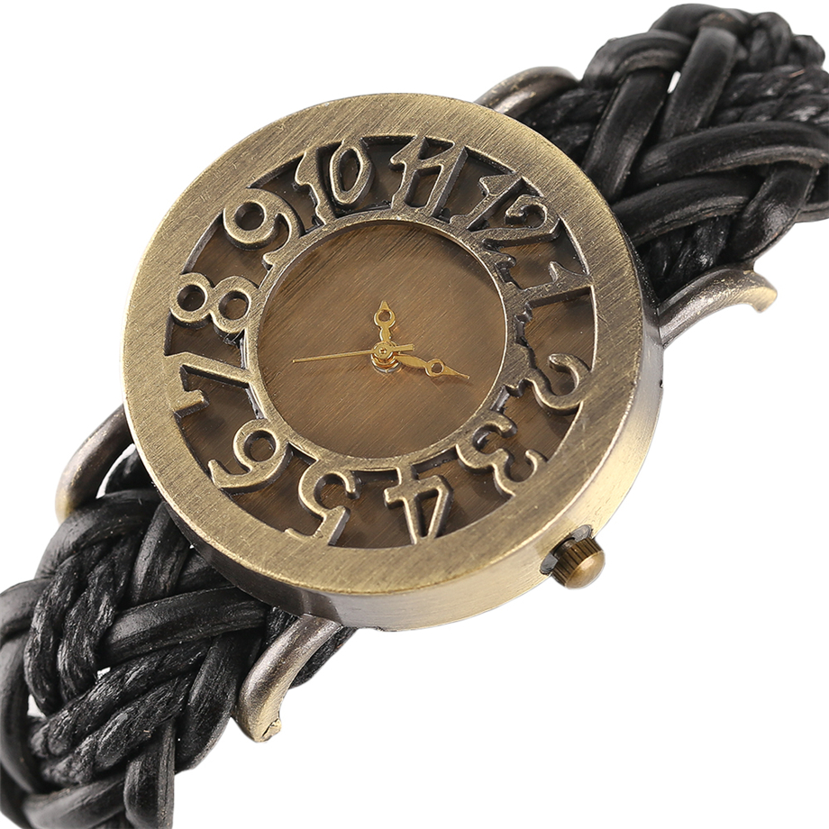 Wrist Watch Cool Retro Bronze Hollow Dial Design Watches for Men Black Brown Leather Band for Women Relojes for Gift retro cow leather band analog quartz wrist watch for women black bronze