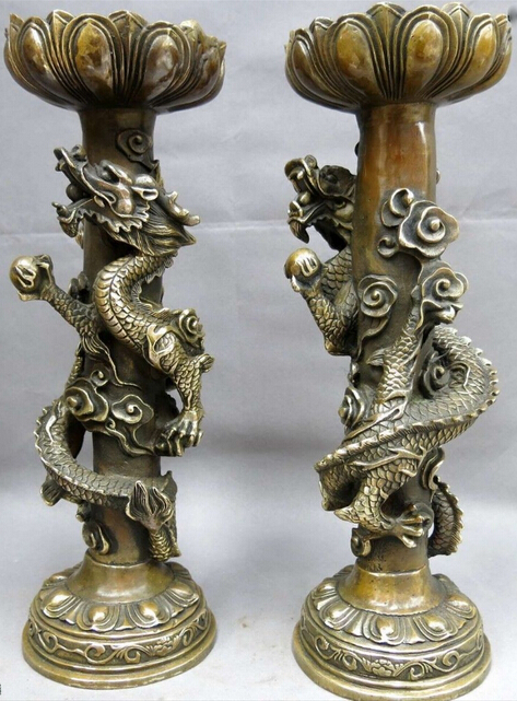 Trend Mark Pure Red Bronze Copper Buddhism Two Dragon Candlestick Candleholder Candler Pair Collectibles