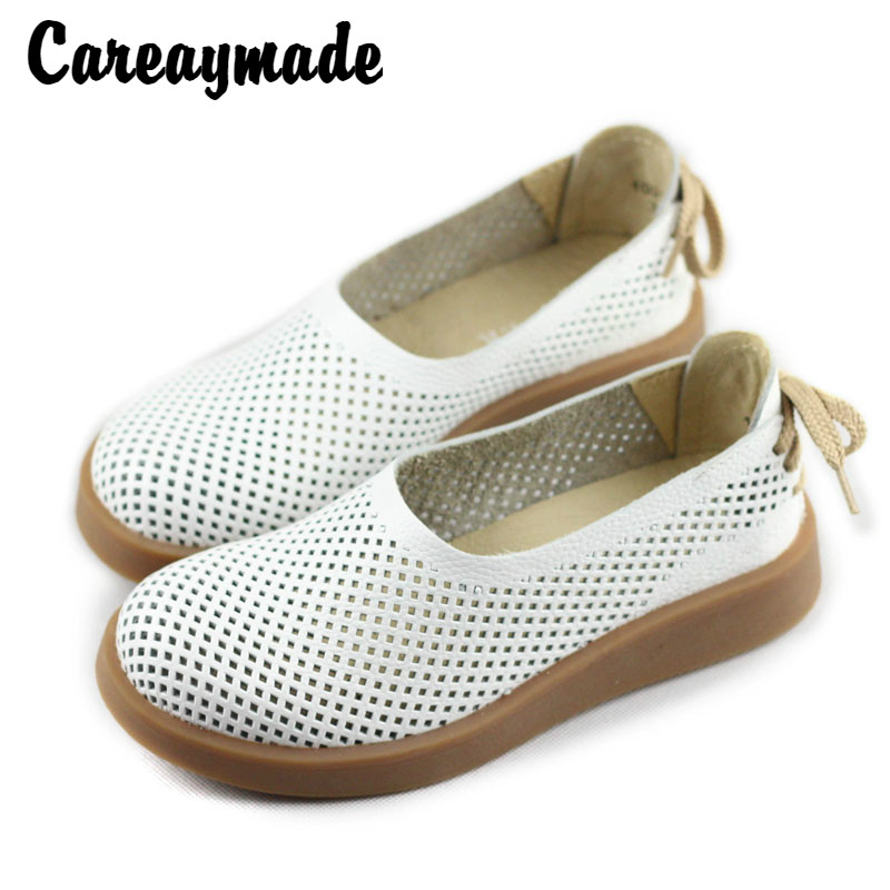 Careaymade Free shipping 2019 Original pure handmade genuine leather shoes women s summer hollows leisure leather