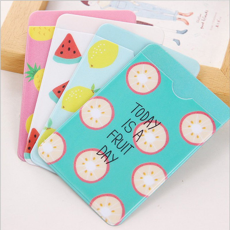 1X Cute Fresh Fruit Portable PVC Double Layer Card Holder Business ID Bus Card Case Wallet School Office Supply Kids Gift
