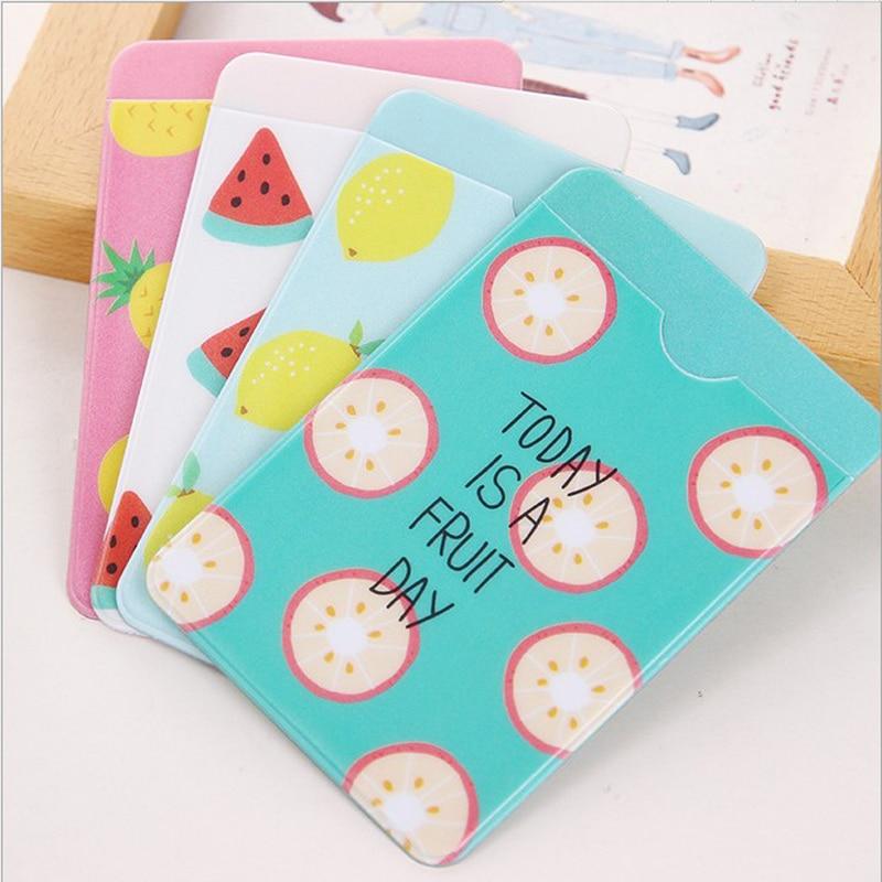 1X lindo fruta fresca portátil PVC de doble capa titular de la tarjeta de negocios ID tarjeta de autobús cartera caso de la Oficina de la escuela de los niños regalo