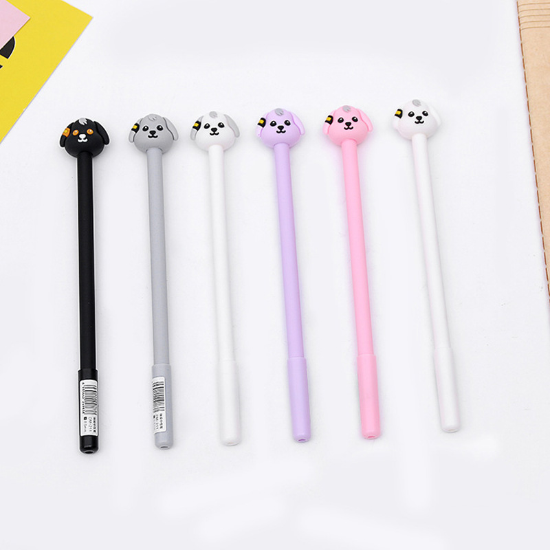 2PCS Cute Kawaii Silicone Puppy Dog Gel Pen School Office Supply Stationery Writing Signing Pen Kids Student Gift 0.5mm Black