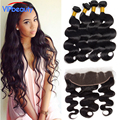 ear to ear lace frontal closure with bundles ,Brazilian virgin hair with closure ,body wave 4 bundles with closure human hair