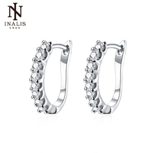 INALIS Zircon Crystals Clip Earrings for Women Gold Silver Color Fashion Jewelry Earring Female Girl Brincos